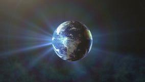 A terra realística que gira com sol irradia, o giro do mundo ilustração stock