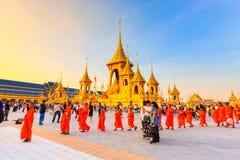 Terra real da cremação para o rei Of Thailand da passagem colocado em Sanam Luang, Banguecoque, TAILÂNDIA fotografia de stock