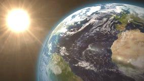 Terra revolvendo e sol brilhante ilustração do vetor