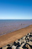 Terra rossa alla baia di Fundy, Nova Scotia, Canada Immagini Stock