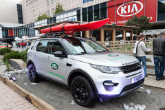 Terra Rover Discovery Sport allo IAA 2015 Fotografie Stock Libere da Diritti