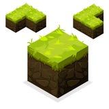 Terra senza fine ed erba del cubo isometrico del paesaggio Fotografia Stock Libera da Diritti