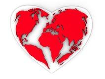 Terra sob a forma do coração ilustração stock