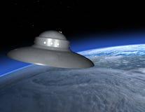 Terra straniera del disco volante del UFO illustrazione vettoriale