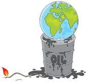 Terra su un barile da olio con un fusibile Fotografie Stock Libere da Diritti