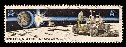 Terra, Sun, mestiere di atterraggio, vagabondo lunare e Astrona Immagini Stock Libere da Diritti