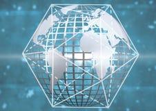 terra tecnologica 3D con il grafico di dimensione Fotografia Stock Libera da Diritti