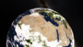 Terra Timelpase do planeta que revolve em torno do Sun com noite às transições do dia filme