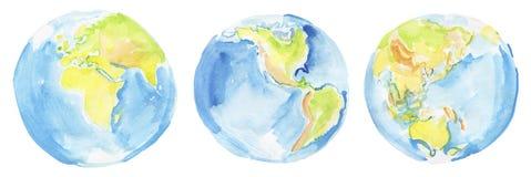 Terra tirada mão da aquarela Fotos de Stock