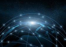 Terra in un web della rete Fotografia Stock