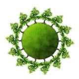 Terra verde con gli alberi Fotografia Stock Libera da Diritti