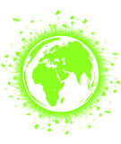 Terra verde del globo con erba Fotografie Stock Libere da Diritti