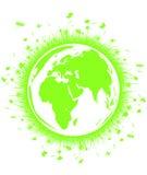 Terra verde do globo com grama Fotos de Stock Royalty Free