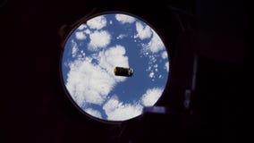 Terra vista de uma nave espacial video estoque