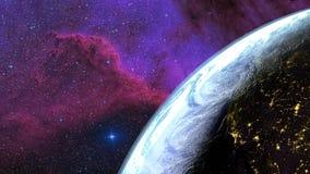 Terra vista do céu Dia da transição - noite Galáxia no fundo rendição 3d video estoque