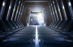 Terra vista do interior de uma estação espacial