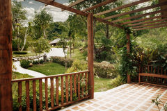 Terrace. Panoramic view of nice summer terrace in tropic environment Stock Image