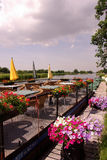 Terrace. A terrace at a boat with colorful flowers Stock Photography