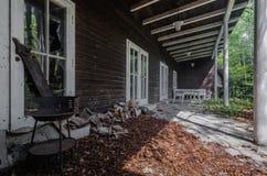terrace of abandoned house royalty free stock photo