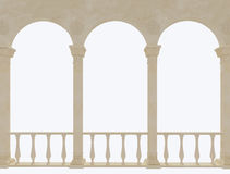Terrace with arches on white background Stock Photos