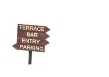 Terrace, bar,entry,parking sign isolated on white background. Clipping path included. Space for text royalty free stock images