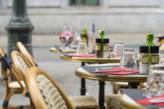 Terrace bar in a street of Brussels Royalty Free Stock Image