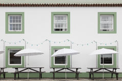 Terrace bar on the street in Pico island. Azores. Portugal Royalty Free Stock Image