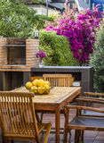 Terrace with barbecue Royalty Free Stock Photos