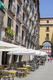 Terrace bars along Archway of Plaza Mayor, Madrid Stock Images