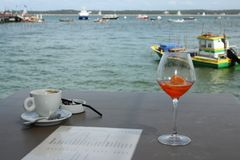 Terrace at the beach at cap ferret with a glass of wine and a coffee stock photo