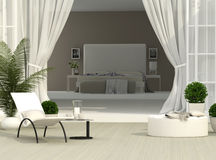 Terrace and bedroom. Beautiful terrace and light bedroom Stock Photography