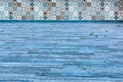 Terrace Blue Flooring and Tiled Wall Stock Image