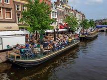 Terrace boats in Leiden, Netherlands Stock Photos