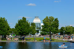 Terrace Bonsecours with people around in Montreal Stock Photo