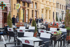 Terrace in Brasov city Stock Image