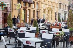 Terrace in Brasov city Stock Image
