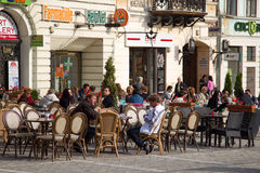 Terrace in Brasov city Royalty Free Stock Image