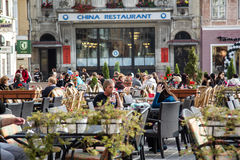 Terrace in Brasov city Royalty Free Stock Photo