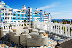 The terrace and building of luxury hotel Stock Image