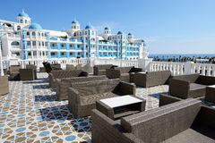 The terrace and building of luxury hotel Royalty Free Stock Photos