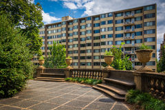 Terrace and buildings at Meridian Hill Park, in Washington, DC. Stock Photos