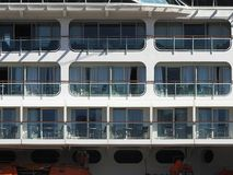 Terrace of the cabins of a luxury cruiser stock images