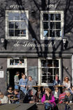Terrace cafe Amsterdam. Spring is here and people joined the terraces and cafes in Amsterdam Royalty Free Stock Images