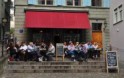 Terrace cafe in Zurich. Swiss Stock Photos