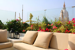 terrace in cartagena centre overlooking the cathedral Royalty Free Stock Images
