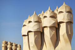 Terrace of the Casa Mila, with chimneys, Barcelona, Spain Royalty Free Stock Images