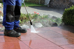 Terrace cleaning with high-pressure Stock Image