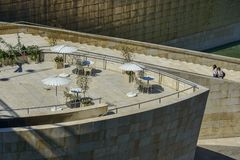 Terrace for coffe at Guggenheim Bilbao area royalty free stock photography
