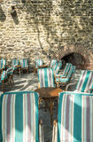Terrace in Colliure in the south of France Stock Photography