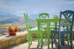 Terrace and colored chairs panorama view Royalty Free Stock Photos